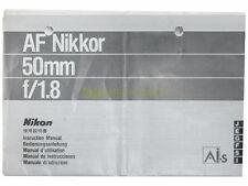 Manuale cartaceo originale per Nikon AF Nikkor 50mm. f1,8.