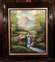 Vintage Original Oil Painting Forest Landscape Waterfall Carved Solid Wood Frame