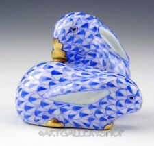 "Herend Figurine HANDPAINTED BLUE FISHNET 1-5/8"" BUNNY RABBITS PAIR #5324"