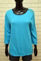 TOMMY HILFIGER Donna Maglia Taglia L Polo Manica 3/4 Shirt Women's Blusa Casual