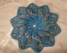 Teal Purple 100% Cotton Hand Crochet 10 Point Star Dish Hot Pad Trivet