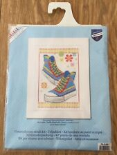 Vervaco 14 Count Cross Stitch Kit Blue Sneakers High Tops Teen 16 x 23 cm Crafts