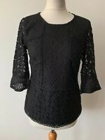 OASIS Black Lace Front Top Jersey Type Back Size S