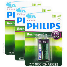 3 x Philips Rechargeable 9V batteries 170mAh 6HR61 Ni-MH up to 1000 charges PP3