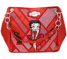 Betty Boop Red Leather Chain Shoulder Style Purse Handbag w/ Silver Metal Studs