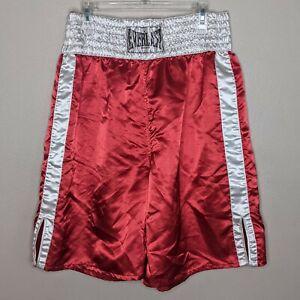 Everlast Red Satin 2XL Boxing Shorts Bottom of Knee Polyester Trunks Vintage
