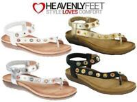 Ladies Summer Fashion Sandals Heavenly Feet Cushioned Gem Toe Post Flip Flops