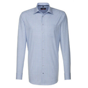 Seidensticker Langarm Hemd Modern blau beige weiß Kariert Gr. 38 / 112030.22