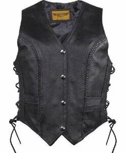 Womens Cowhide Leather Classic Style Longer Vest w/Braids 2 Concealed Gun Pocket
