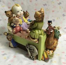 Storybook Trinket BOX Baby on Bed with Nursery Rhyme Characters Resin Figurine