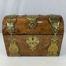 Antique Gothic Burr Walnut Stationery Box Brass Sectional Interior 23cm