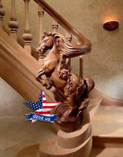❤️️Bas relief Horse for stairs✅Wood Carved 3D statue sculpture figure decor art