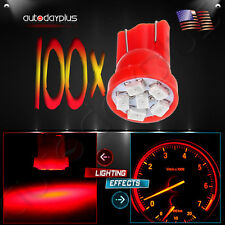 100Pcs Super Red T10 Wedge LED 6-SMD168 194 Dome Map Light License Plate Bulbs
