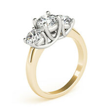 3.00CT Forever One Moissanite 3-Stone Trellis Ring Two Tone Gold C&C Certified