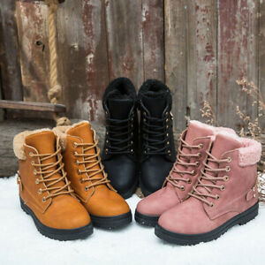 Women Ankle Boots Winter Warm Flats Lace Up Fur Lined Boot Snow Shoes Waterproof