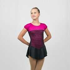 Ice Skating Figure Skating Hot Berry/Black spandex size Medium Child(8-10 years)