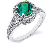 1.80Ct Natural Green Zambia Emerald EGL Certified Diamond Ring 14KT White Gold