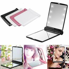 Folding Compact Pocket Mirror 8 LED Lights Portable Mini Makeup Mirror Cosmetic