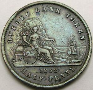 QUEBEC (Canadian Provinces) 1/2 Penny 1852 - Copper - VF - 1047 ¤