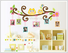 UK Seller Cute Owls Tree Branch Flower Photo Frame Wall Stickers Wall Decals