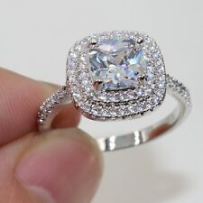 Cushion Cut 8*8mm white  925 Sterling Silver Topaz Engagement Ring Size 5-11