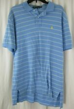 Men's Large L Baby Blue Striped  Ralph Lauren Polo Shirt Yellow Logo