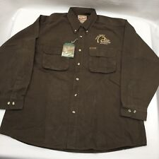 WOOLRICH Men's XL Button Up HEAVY Cotton Winter Hunters Green Shirt Duck Unlimit