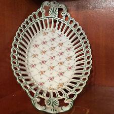 Superbe panière ajourée porcelaine à décors de roses XVIII ou XIXe