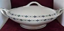 Fraureuth Germany Fine China Saxony Serving Bowl & Lid Blue Diamond Pattern 1960