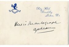 More details for aga khan iii - president of the all-india muslim league - signature on ritz card