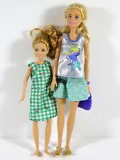 LOT #141-142 DRESSED BARBIE SKIPPER DOLL LOT OF 2 FASHIONISTAS IN GREEN DRESSES
