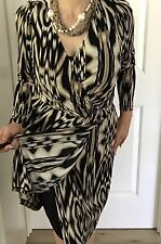 DAVID LAWRENCE WOMENS DRESS WRAP LINED STRETCHY PRINTED WORK PARTY SZ L