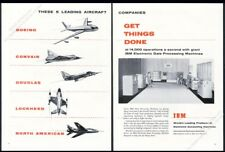 1955 IBM computer system photo USAF F-100 etc plane art vintage print ad