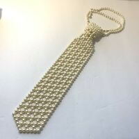 "VINTAGE Hong Kong BEADED NECKTIE NECKLACE Creamy White FAUX PEARLS 21"" Tie"