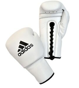 Adidas Pro Leather Boxing Gloves WBC Approved Lace Up Black White 8oz