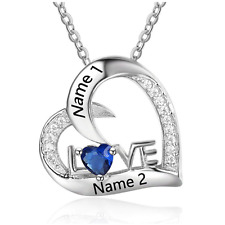 Personalised Love Sparkles Birthstone Heart & Name Necklace, 925 Silver Gift