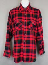 McGregor Size 20 Vintage Red Green Blue Plaid Button Down Acrylic Long Sleeve