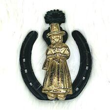 Vintage Welsh Lady Wales Pilgrim Horseshoe Door Knocker Brass Iron Heavy Duty