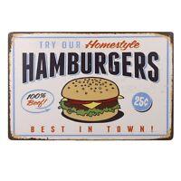 "HOMESTYLE HAMBURGER Retro Vintage Tin Metal Aluminum Sign 12"" X 8"""