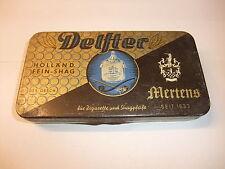 alt leer Blechdose Reklamedose Dose Werbung Reklame Delfter Mertens Kleve Lübeck