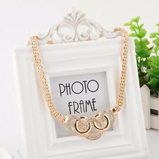 Women Crystal Gold Collar Bib Chain Statement Necklace Earrings Bracelet Set