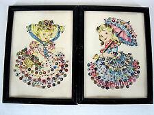 2 Beaded Embellished Vintage Framed Prints Girls Wearing Frilly Dresses