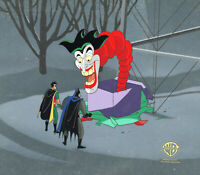 Batman Animated Series Original Prod Cel/OBG-Batman+Robin-Christmas With Joker