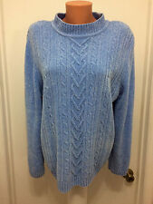 Women's Sweater L  cable knit Soft Acrylic  ALFRED DUNNER Light Blue Long Sleeve