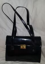 Cole Haan Handbag Black Patent Leather Push Lock Double Handles Purse Classy Bag
