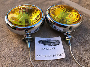 NEW PAIR OF SMALL VINTAGE STYLE 12 - VOLT AMBER FOG LIGHTS 41 47 49 50 CAR TRUCK