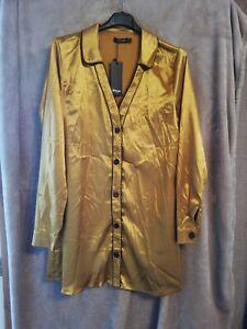 Nasty Gal Long Sleeved Satin Shirt Dress (Size 12)
