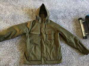 Burton DryRide Snowboard Jacket Hooded Coat Olive Green Men's Medium-EXCELLENT!