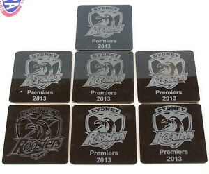 7 x NRL SYDNEY CITY ROOSTERS ACRYLIC DRINK COASTERS 2013 PREMIERS