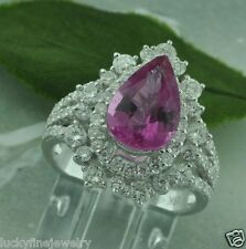 4.86ct 18k White Gold Pear Shape Natural Pink Tourmaline & Diamond Ring Cocktail